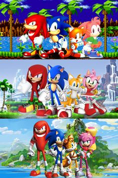 Evolution of Knuckles,Sonic, Tails and Amy.