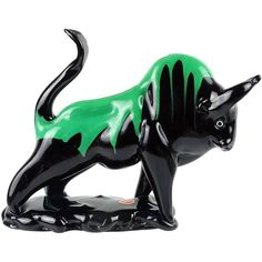 Murano Black Green Drip Taurus Bull Italian Art Glass Figure Sculpture | From a unique collection of antique and modern sculptures at https://www.1stdibs.com/furniture/decorative-objects/sculptures/