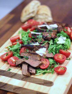 Italian supper: Hot beef tagliata, rocket & parmesan salad