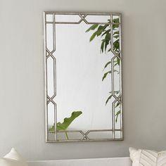 "27""w x 1""d x 42""h  $429   http://www.wisteria.com/Silver-X-quisite-Mirror/productinfo/T14755"
