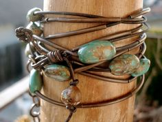 Turquoise Leather Wrap Bracelet Natural Antiqued Brown by HBMUSE, $90.00