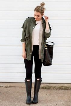 Here is Rainy Day Outfit Ideas Collection for you. Rainy Day Outfit Ideas spring showers what to wear on a warm rainy day coll. Cute Rainy Day Outfits, Casual Winter Outfits, Spring Outfits, Cute Outfits, Rainy Day Outfit For Fall, Rainy Outfit, Stylish Outfits, Hipster Outfits, Anorak Jacket Green