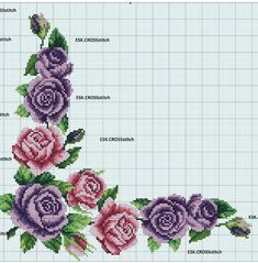 Rose Motif for Napkins Cross Stitch Pattern Cross Stitch Rose, Cross Stitch Borders, Cross Stitch Flowers, Cross Stitch Kits, Cross Stitch Charts, Cross Stitching, Cross Stitch Embroidery, Cross Stitch Patterns, Embroidery Bags