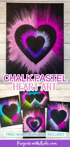 Colorful chalk pastel heart art for kids to make. Heart templates included making this Valentine's Day art project easy for kids of all ages!