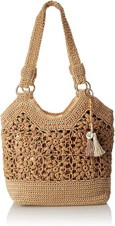 The Sak Ellis Tote Shoulder Bag, Natural Flower, One Size Crochet Flower Tutorial, Crochet Instructions, Crochet Handbags, Crochet Purses, Crochet Cord, Crochet Stitches, Crochet Purse Patterns, Jute Bags, Knitted Bags