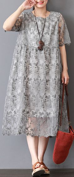 quality gray knee dress plus size holiday dresses New twp pieces lace embroidery natural linen dress