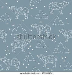 Abstract polygonal bear seamless pattern background.  Grizzly in the mountains