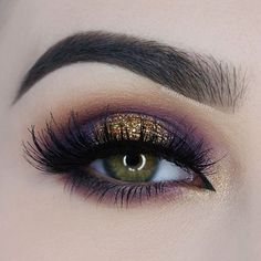 Smokey Purple & Gold Glitter Eye Makeup ☆ | Source: Unknown. Image sourced from google