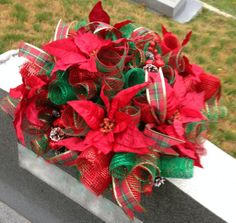 Christmas Headstone Saddle by aDOORableDecoWreaths on Etsy