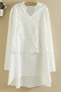 Shop for White 5xl Ladylike Stand-Up Collar Long Sleeve Solid Color Lace and Chiffon Splicing Dress For Women online at $33.03 and discover fashion at RoseGal.com Mobile