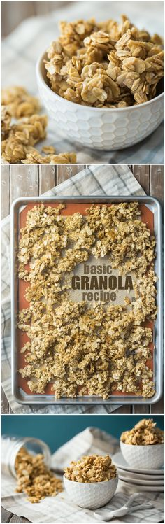Granola Best ever basic granola recipe- this can be customized in a million different ways, but it's really amazing as-is too!Best ever basic granola recipe- this can be customized in a million different ways, but it's really amazing as-is too! Brunch Recipes, Breakfast Recipes, Snack Recipes, Dessert Recipes, Freezer Recipes, Freezer Cooking, Drink Recipes, Cooking Tips, Dinner Recipes