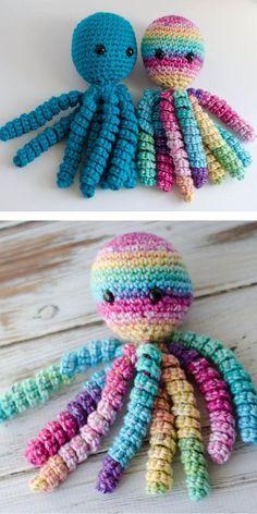 Cute and Friendly Octopus Free Crochet Patterns Quick Crochet, Crochet Yarn, Crochet Toys, Free Crochet, Crochet Stitch, Knitting Paterns, Crochet Blanket Patterns, Amigurumi Patterns, Preemie Octopus