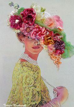 Ricamo  Vaso coi fiori.  Silk ribbon di SilkRibbonembroidery
