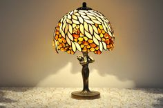 """Amber Willow -Table lamp. 8"""" lamp shade made of stained glass and amber. Stained glass lamp. Tiffany lamp. Bedside lamp."""
