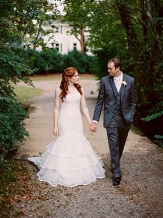 October wedding in Knoxville, TN. Bride in ivory mermaid dress by Essense of Australia.