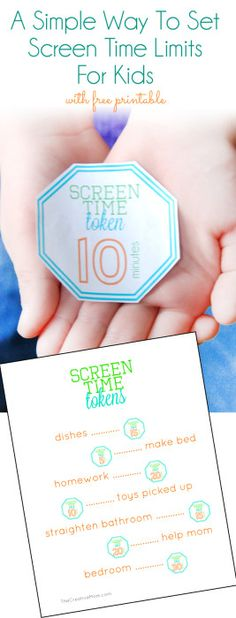 A simple way to set screen time limits (and a free printable for screen time tokens) from TheCreativeMom.com