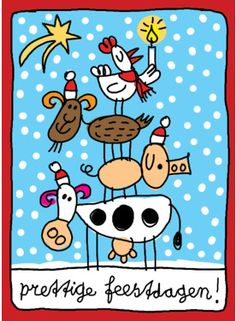 Dieren met kerstmuts staan op elkaar- Greetz Yule, Rock Painting, Colouring, Graphic Illustration, Painted Rocks, Happy New Year, Folk Art, Kindergarten, Happy Birthday