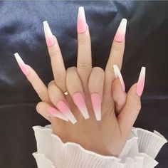 Acrylic Nails Coffin Short, Square Acrylic Nails, Pink Acrylic Nails, Fake Nails French, French Manicure Nails, Nail Swag, Pink Ombre Nails, Cute Acrylic Nail Designs, Dope Nails