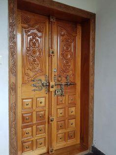 House Main Door Design, Home Door Design, Main Entrance Door Design, Wooden Front Door Design, Temple Design For Home, Double Door Design, Small House Interior Design, Wooden Front Doors, House Design