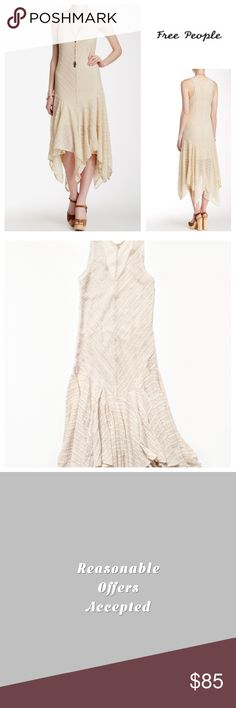 Free People Cream Maxi Slip Dress🆕 Free People Lila Slip Maxi Dress.  The sharkbite hem of this gauzy striped slip dress only adds to its bohemian design.   Drop waist with a flutter skirt and a high low hem.  - V-neck - Sleeveless - Lace construction  -  Hand wash Fiber Content 90% nylon, 10% spandex.  Fit true size. ///////NWOT/////// Free People Dresses