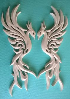 Two phoenixes Phoenix Carving Wall  Phoenix bird Handmade