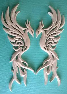 Two phoenixes, Phoenix Carving Wall, Phoenix bird Handmade, Wooden Phoenix bird, Wooden Phoenix