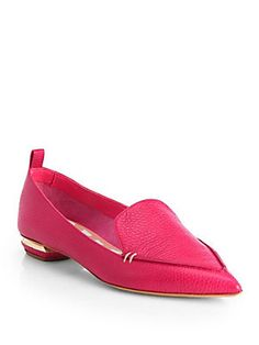 Nicholas Kirkwood Pebbled Leather Point-Toe Loafers - these are my new favorite summer loafer - so stylish