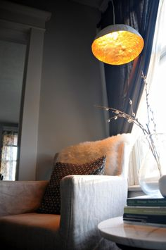 Diy gold leaf lamp shade craft thyme triplepfeature crafts a little gold lining for your wednesday aloadofball