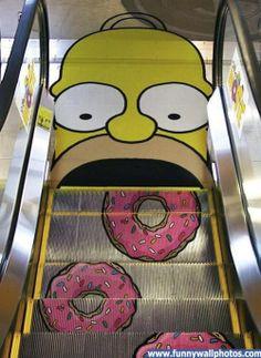 Arte Callejero / Street Art - Homer Simpson My escalator :) Guerilla Marketing, Street Marketing, Guerrilla Advertising, Creative Advertising, Funny Advertising, Advertising Ideas, Ads Creative, Marketing Ideas, Print Advertising