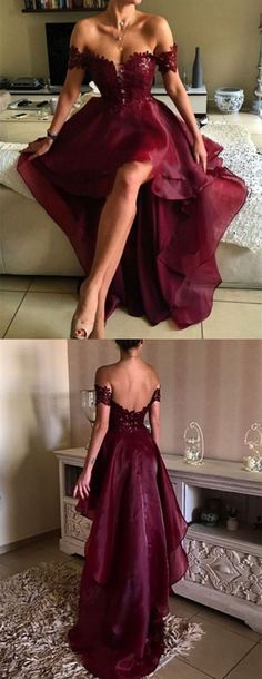 High Low Burgundy Off-the-Shoulder Lace Prom Dresses Party Evening Gowns 3020243