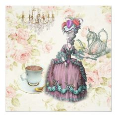 Tea Party Birthday Invitations marie antoinette tea pot floral birthday party card