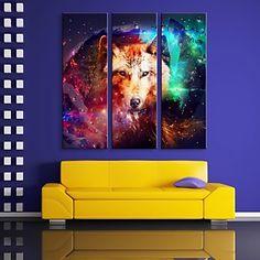 e-Home® uitgerekt geleid canvas kunst de wolf flitseffect geleid knipperende glasvezel afdruk set van 3 - EUR € 120.99