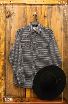 b61baeadddf Here is a style idea for him. A Starr Print Snap Shirt with a Larry Mahan  Virginian Felt Hat that makes it pop.