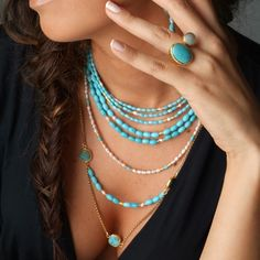 Long Multi Layer Turquoise and Pearl Necklace by toosis on Etsy, $248.00