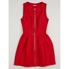 Pre-owned Alaïa Red Honeycomb Stitch Cotton Front Zip Dress ($1,080) ❤ liked on Polyvore featuring dresses, red cotton dress, form fitting dresses, preowned dresses, cotton day dresses and zip front bodycon dress