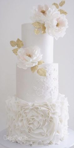 Gorgeous tall round white wedding cake with ruffles and floral details - perfect! White Wedding Cakes, Elegant Wedding Cakes, Elegant Cakes, Beautiful Wedding Cakes, Gorgeous Cakes, Wedding Cake Designs, Pretty Cakes, Cake Wedding, Purple Wedding