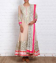 Beige & Golden Net Anarkali Suit at indianroots.com