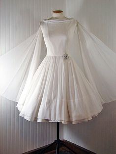Vintage 1950s 50s ATHENA Pure White Chiffon Draped Wedding Prom Party Dress w Shoulder Trains