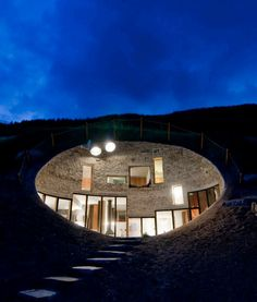 underground home at night