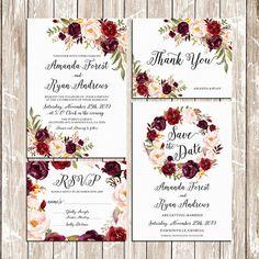 Printable Wedding Burgundy Purple and Pink by HappyLifePrintables