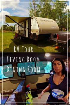 RV Tour - Dinette and Living Room - RV Living. How big is the inside of a travel trailer? How do you organize it? What does it look like after 2 years of full time use? Get the answers here in this detailed RV tour of our living and dining rooms. Travel Hack, Rv Travel, Family Travel, Travel Tips, Budget Travel, Rv Homes, Luxury Rv, Rv Organization, Hacks