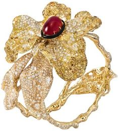 Cindy Chao Jewelry. Flaming Floral cuff with rubies, diamonds, and black onyx.