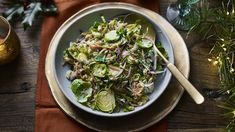 Brussels sprout slaw recipe - BBC Food Burnt Butter Recipe, Nadiya Hussain Recipes, Brussel Sprout Slaw, Chestnut Recipes, Bubble And Squeak, Sprouts With Bacon, Slaw Recipes, Fresh Chives, Toasted Almonds