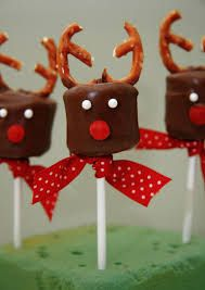 Chocolate Marshmellows with pretzels as antlers