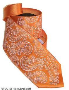 Orange and Ivory octopus  Necktie Octopus RokGear tie by RokGear,