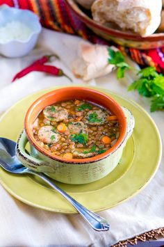 This hearty soup is packed with protein and veggies. Serve with crusty bread for dunking. - Italian Lentil Soup with Sausage Lentil Sausage Soup, Spicy Sausage, Lentil Soup, Pork Recipes, Slow Cooker Recipes, Cajun Recipes, Vegetarian Recipes, Roasted Tomato Basil Soup