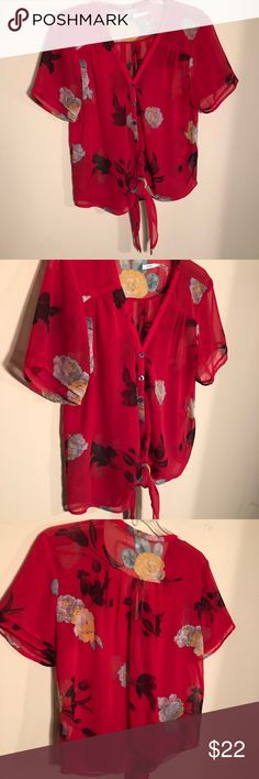 Kimchi Blue, Blouse, Medium, LIKE  Kimchi Blue, sold at Urban Outfitters Short sleeve Blouse with tie Vibrant red Floral print, sheer Size Medium Like NEW, no defects! Smoke and pet free homes  Urban Outfitters Tops Blouses
