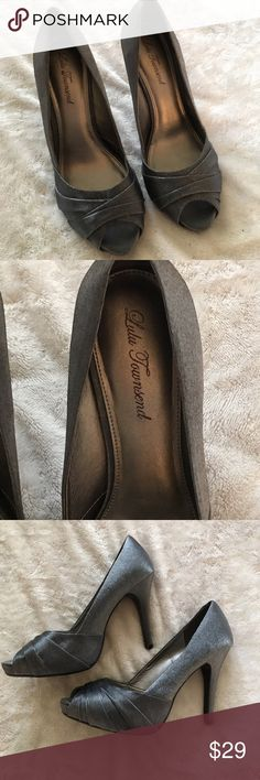Lulu Townsend gray shiny heels - size 9.5 Worn once . These are in excellent condition! Dark gray shiny material. Perfect with just about anything! Super sexy. Lulu Townsend Shoes Heels