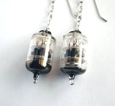 Vacuum Tube Earrings  My Lady In Chains  by MadScientistsDesigns