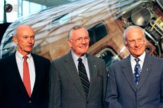 Michael Collins, Neil Armstrong, and Buzz Aldrin on the 30th anniversary of their mission, July 21, 1999.